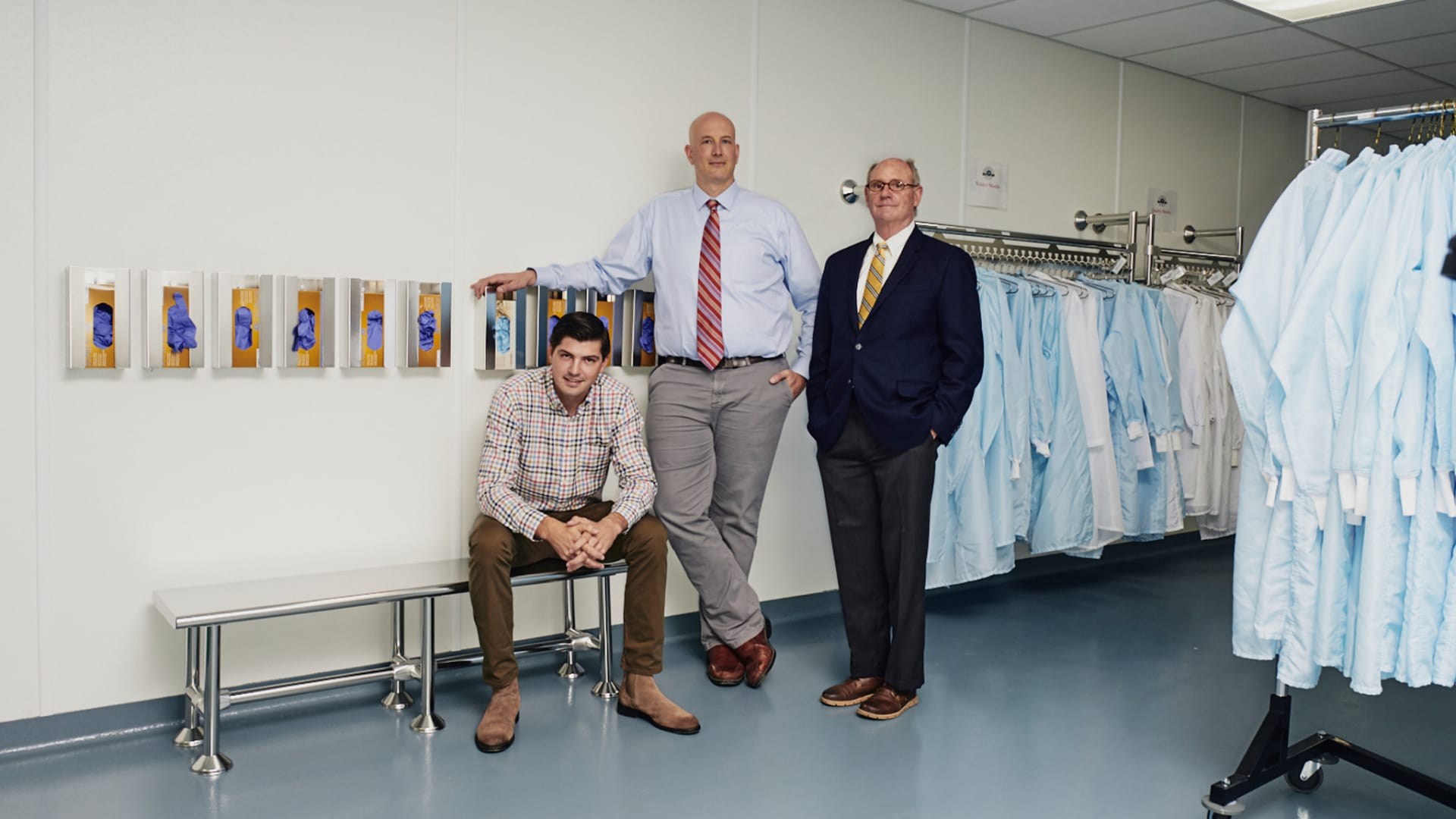 Derek McKenney, senior manufacturing engineer, Scott Wellman, interim general manager, and Timothy Templet, head of global sales, of Puritan Medical Products, Inc.'s Company of the Year.