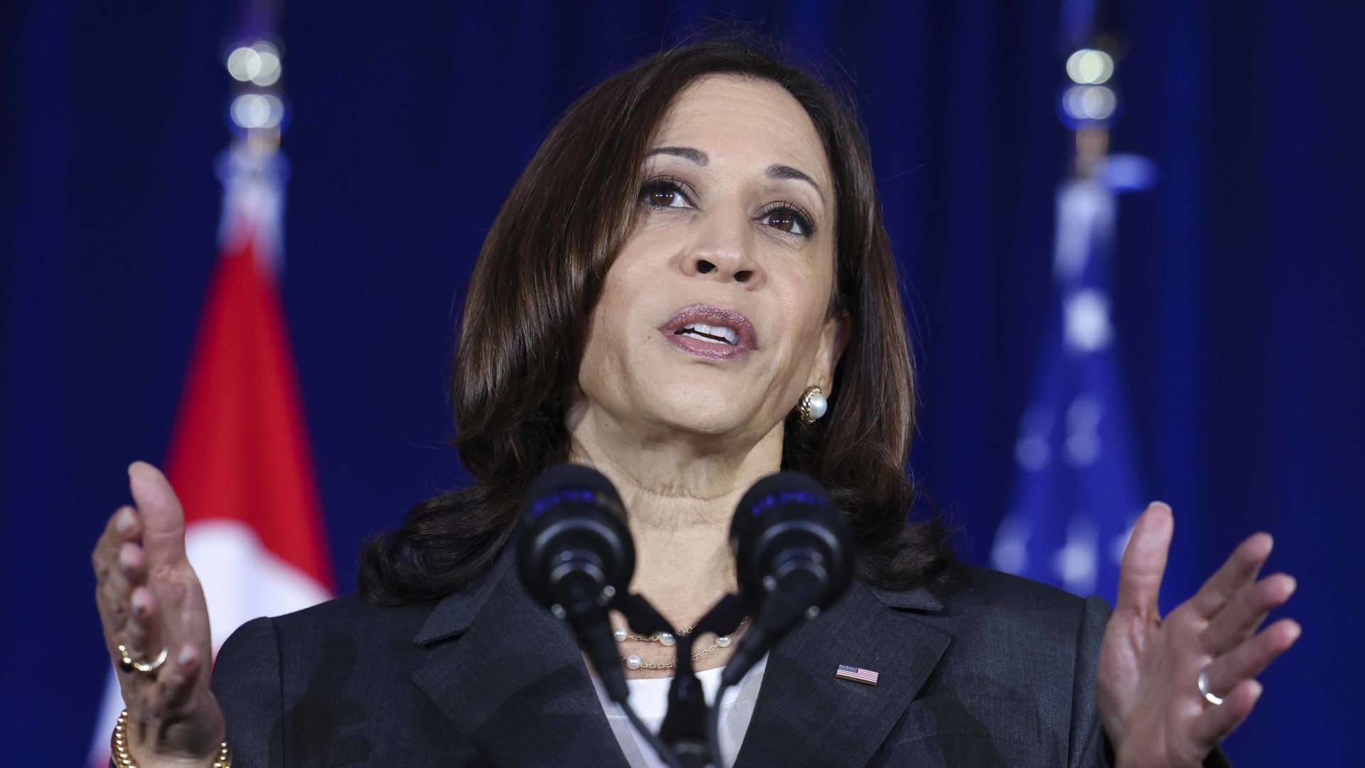 U.S. Vice President Kamala Harris delivers a speech at Gardens by the Bay in Singapore before departing for Vietnam on the second leg of her Southeast Asia trip, Tuesday, Aug. 24, 2021.