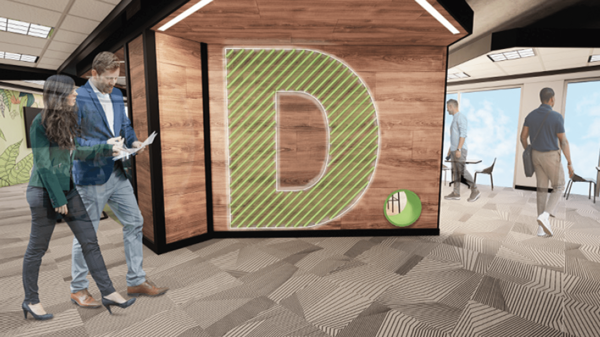 The Deloitte welcome wall design rendering, developed in partnership with SCADpro for Deloitte Digital's virtual studio, currently in development