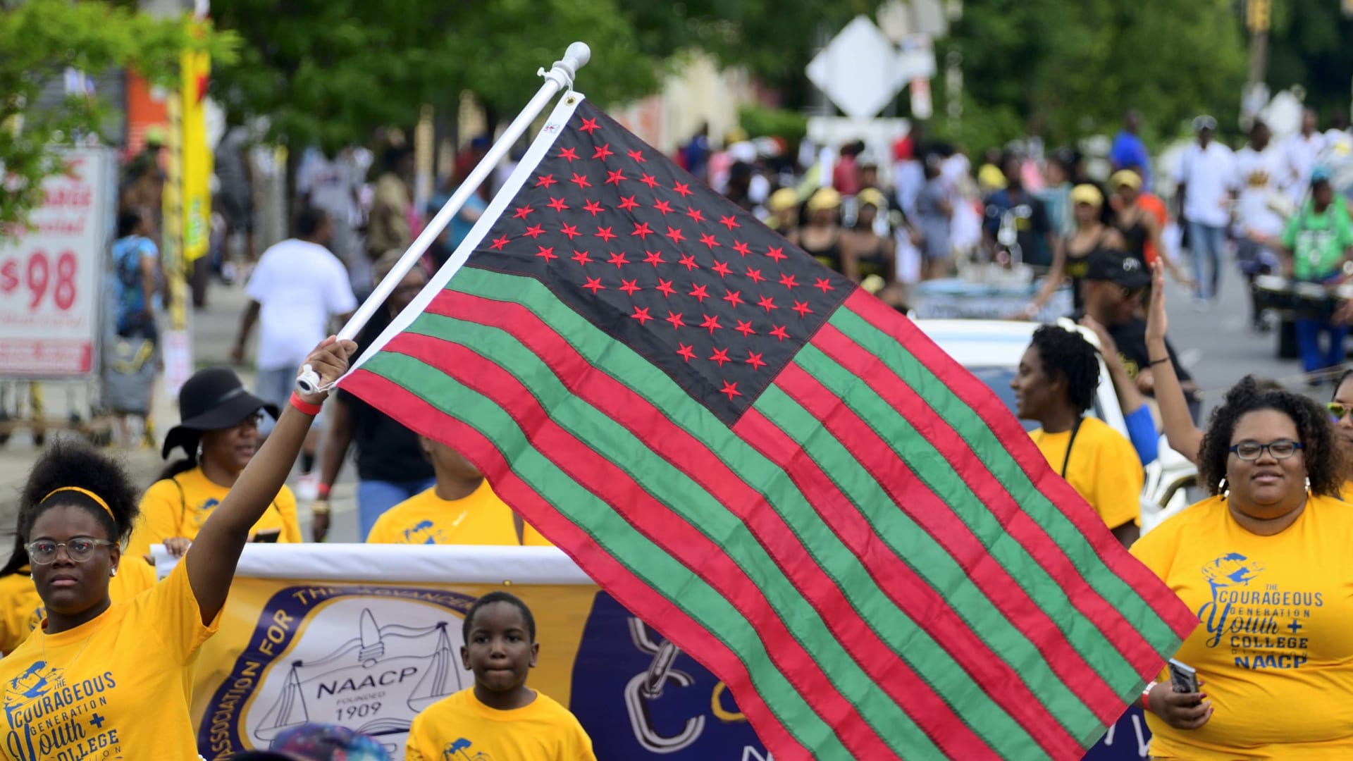 Elected officials, community leaders, youth, and drum and marching bands take part in the annual Juneteenth Paradem in Philadelphia.