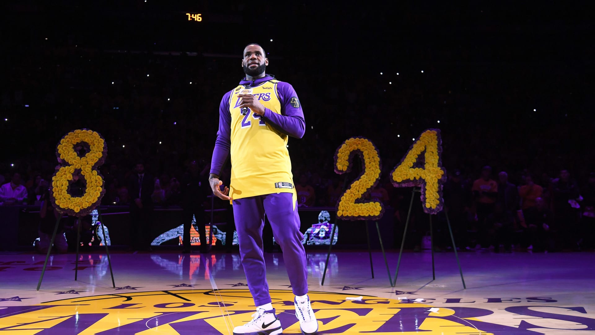 On January 31, 2020, LeBron James speaks during the Los Angeles Lakers pregame ceremony to honor Kobe Bryant.