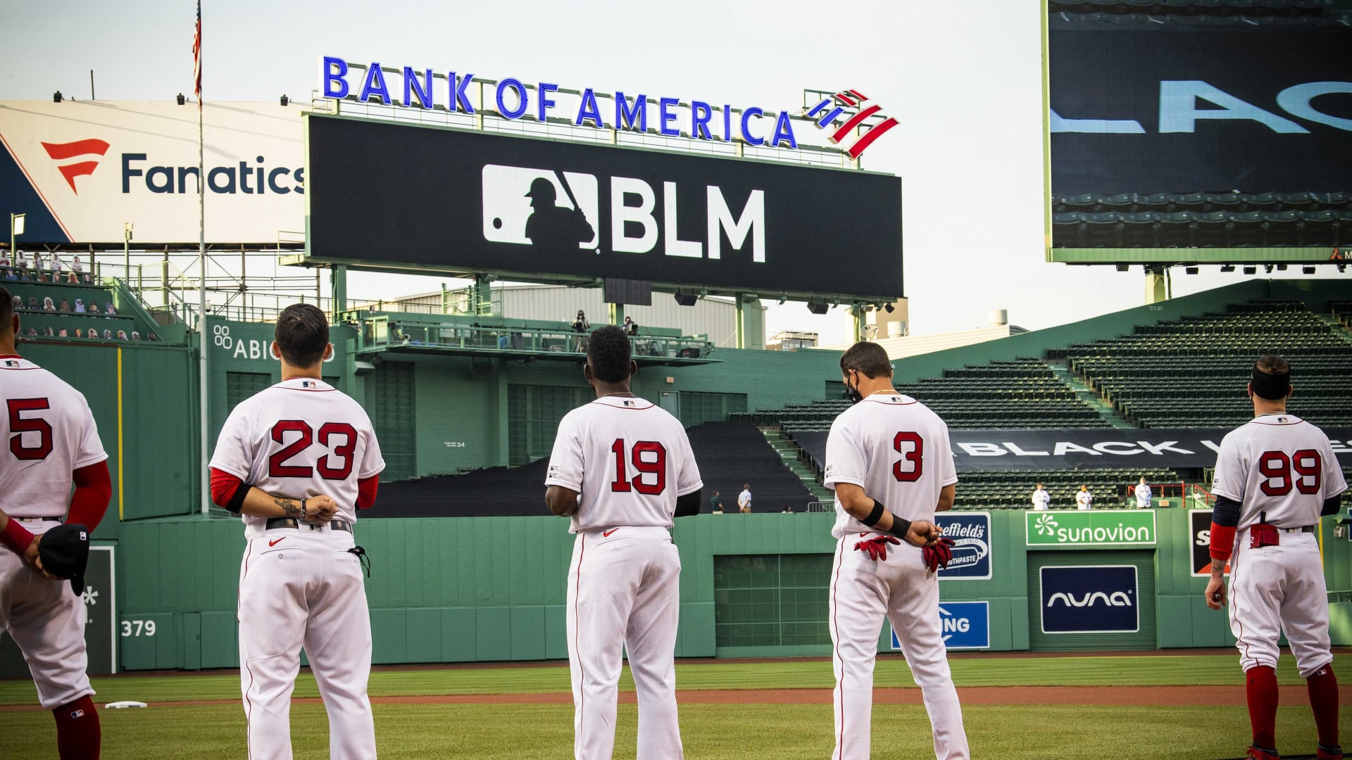 Jackie Bradley Jr. of the Boston Red Sox (No. 19) at a Black Lives Matter and Players Alliance ceremony on July 24, 2020, at Fenway Park in Boston.