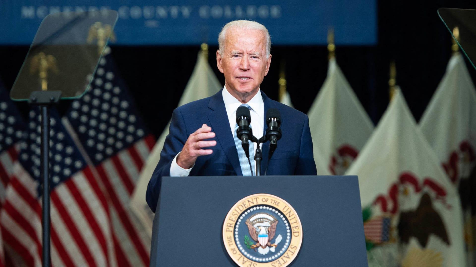 President Joe Biden speaks about his Build Back Better economic plans in Crystal Lake, Illinois, on July 7.