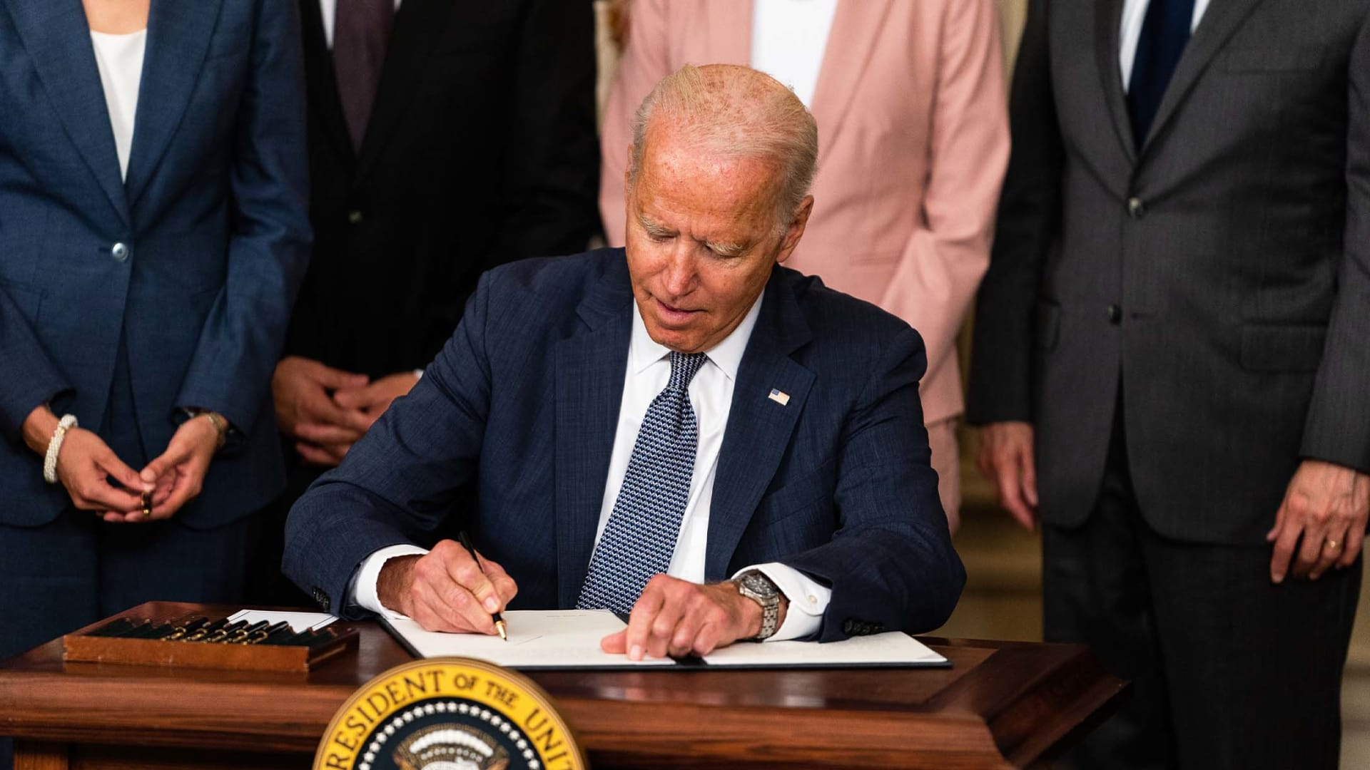 President Joe Biden delivers remarks and signs an executive order on promoting competition in the American economy in the State Dining Room of the White House on July 9, 2021.
