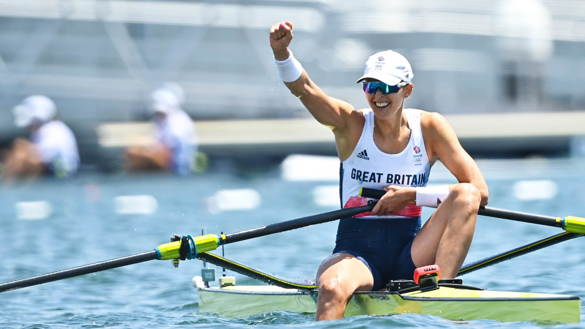 Victoria Thornley of Great Britain celebrates after finishing second in the Women's Single Sculls semi-final during the 2020 Tokyo Summer Olympic Games.
