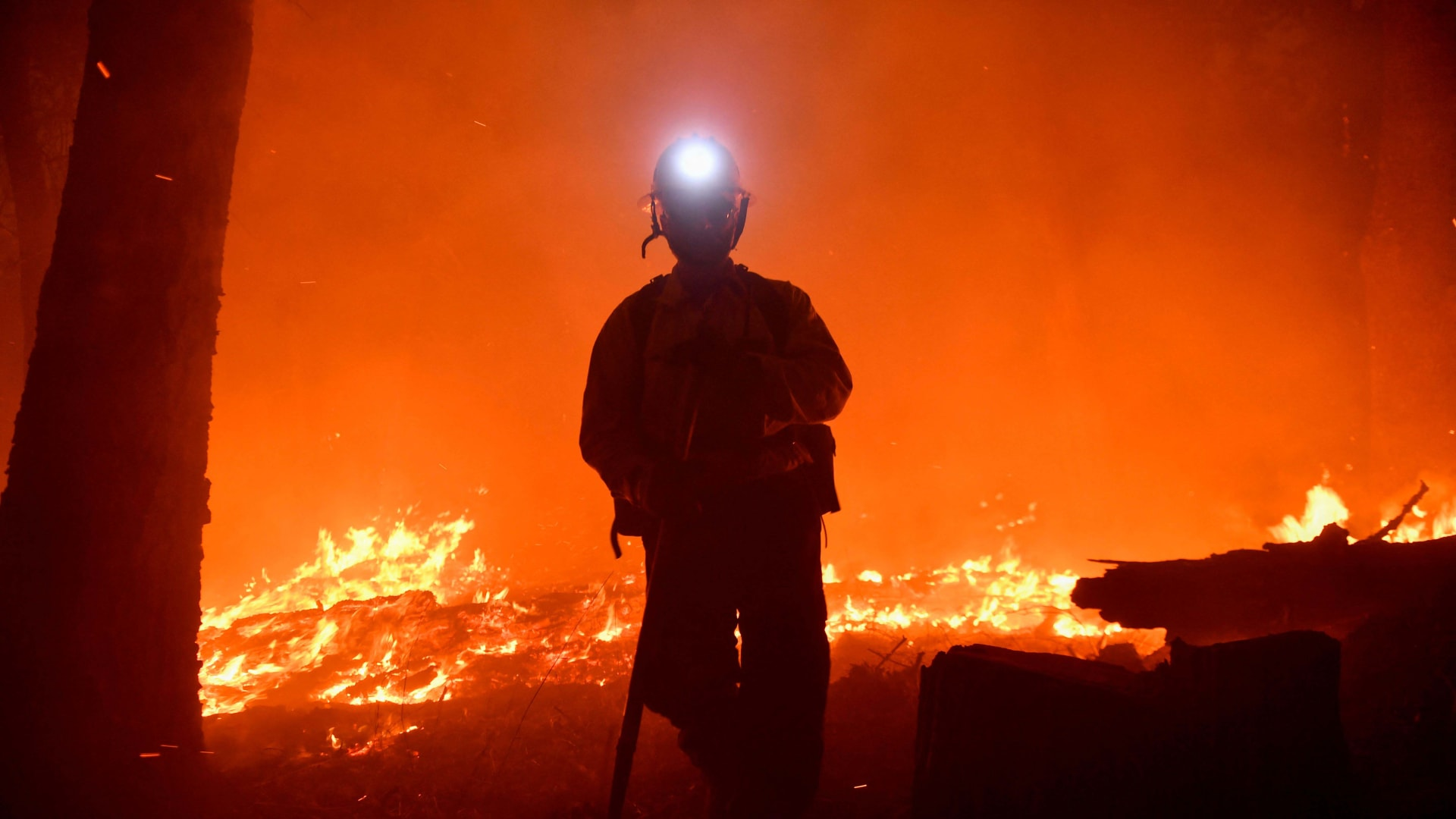 A Kern County firefighter at the site of the French Fire in the Sequoia National Forest on August 25, 2021.