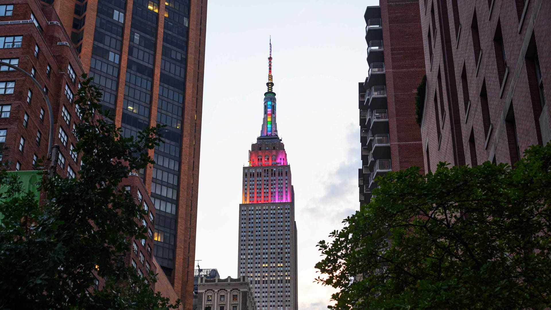 The Empire State Building is lit in Pride colors on June 28, 2020, in New York City.