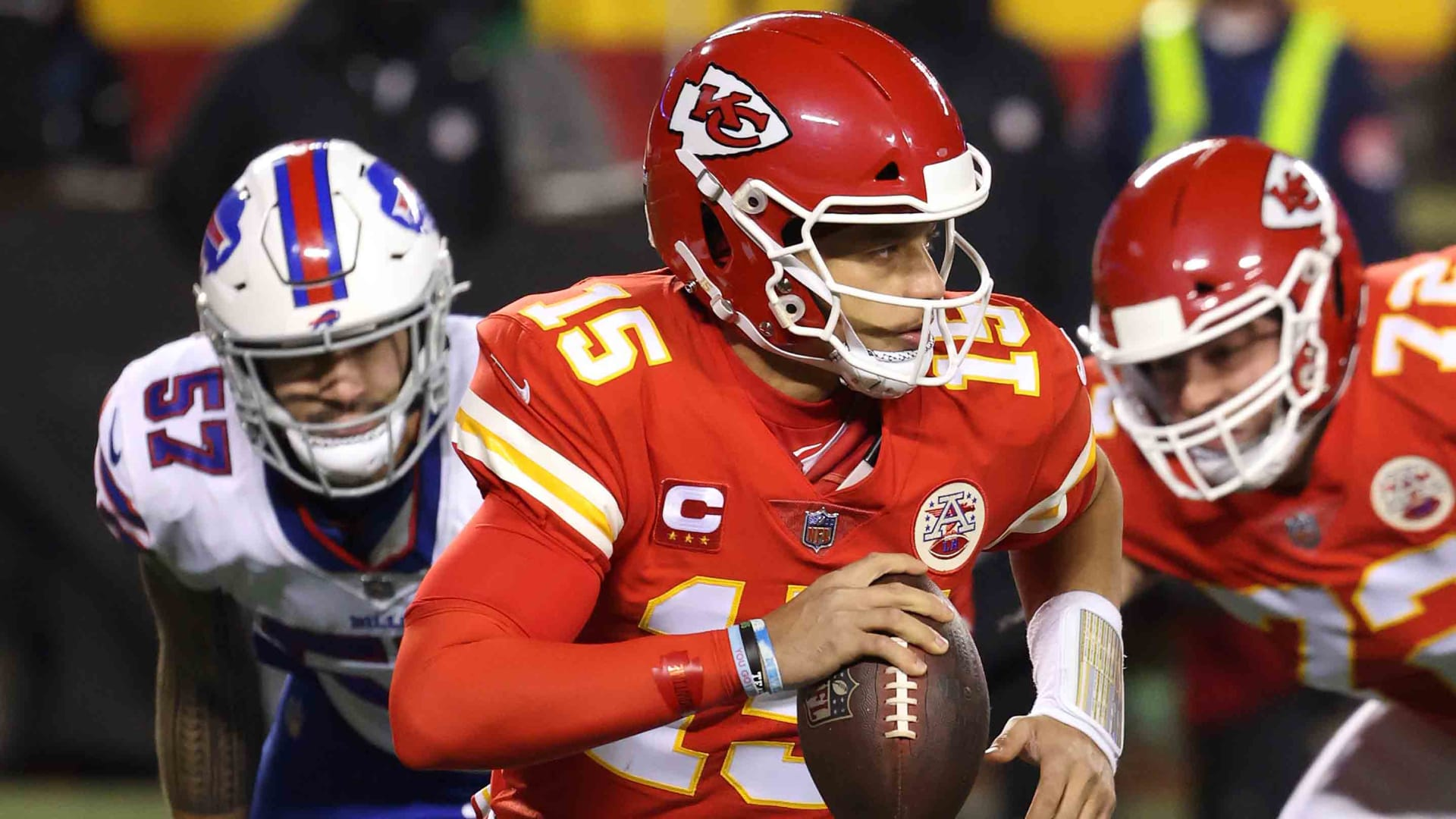 Patrick Mahomes, No. 15 of the Kansas City Chiefs, scrambles with the ball in the first quarter against the Buffalo Bills during the AFC Championship game at Arrowhead Stadium on January 24, 2021 in Kansas City, Missouri.