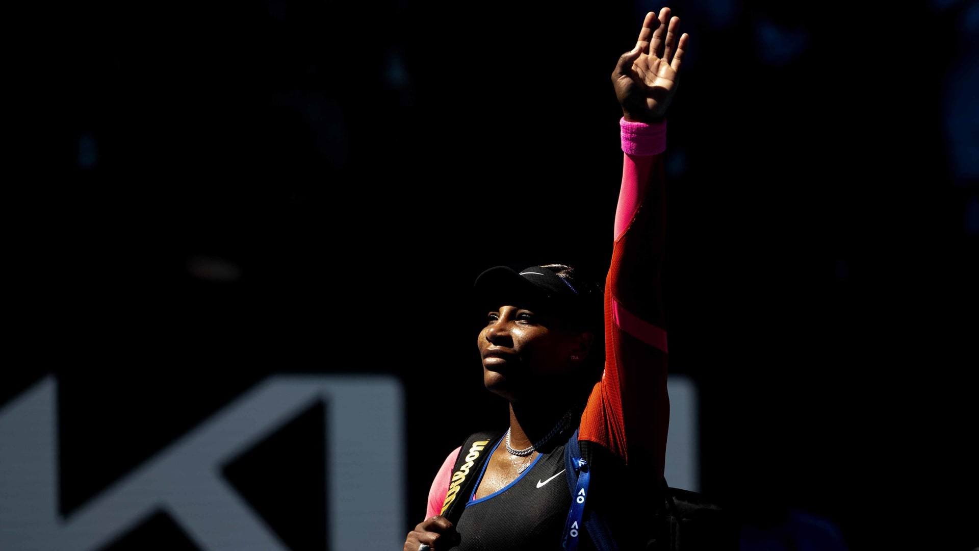 Serena Williams of the United States waves goodbye to the crowd following her defeat in the Women's Singles Semifinals match against Naomi Osaka of Japan during day 11 of the 2021 Australian Open on February 18, 2021 in Melbourne, Australia.
