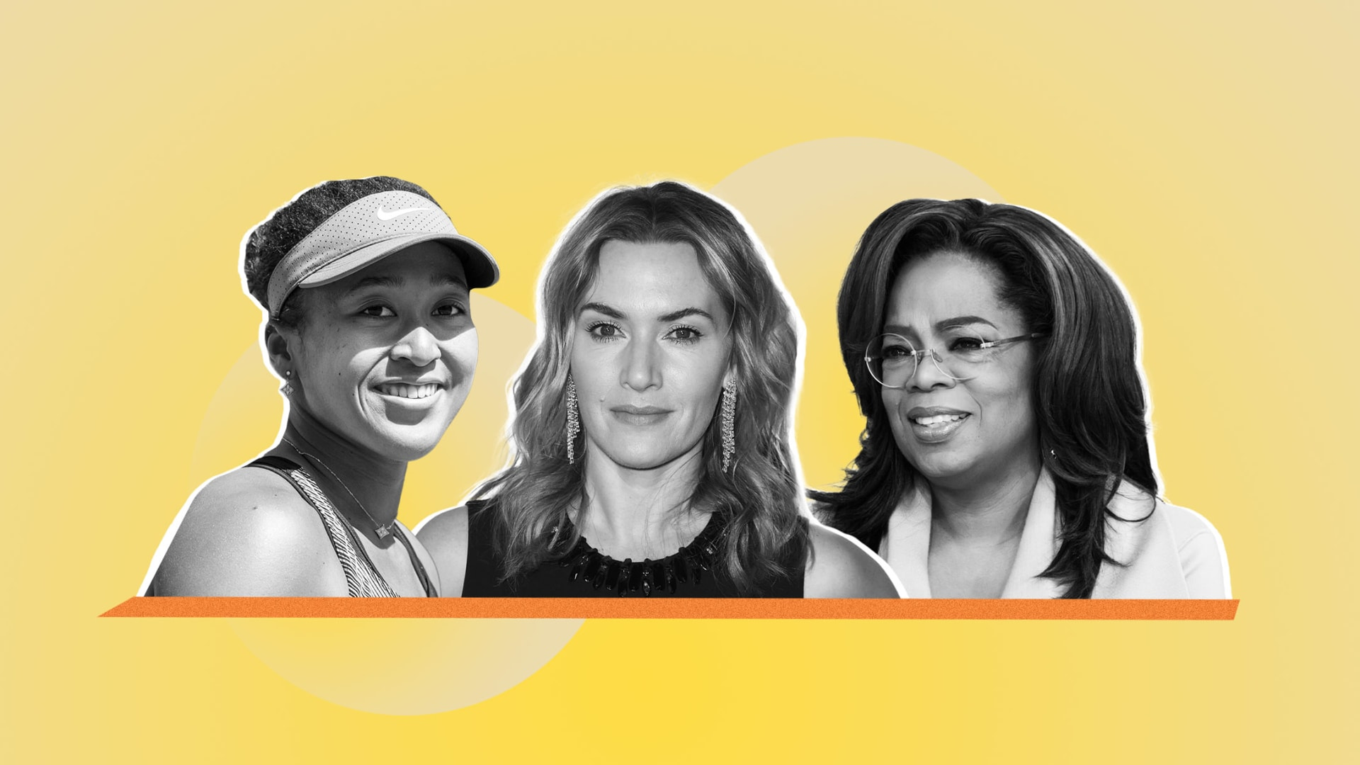 From left: Naomi Osaka, Kate Winslet, and Oprah Winfrey.