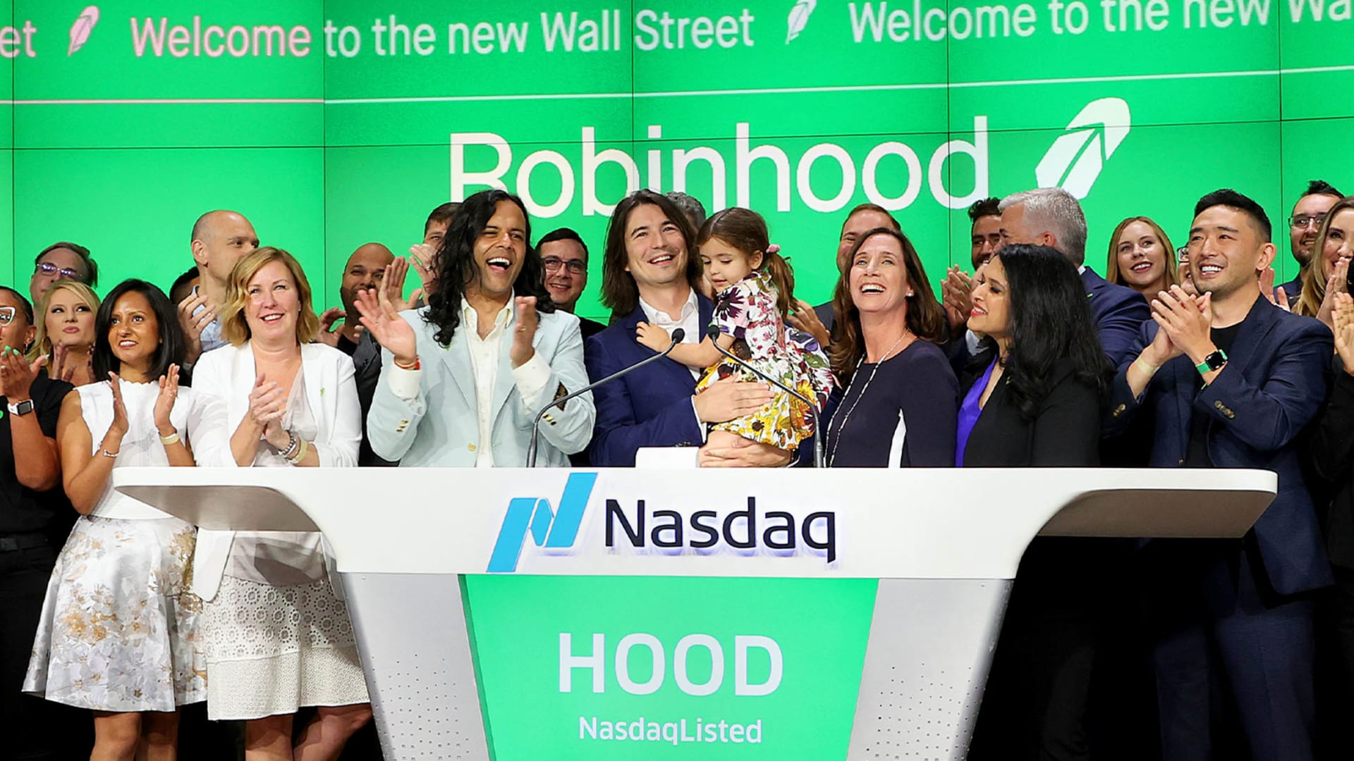 Baiju Bhatt and Vlad Tenev celebrate after ringing the bell on Robinhood Markets IPO Listing Day on July 29, 2021 in New York City.