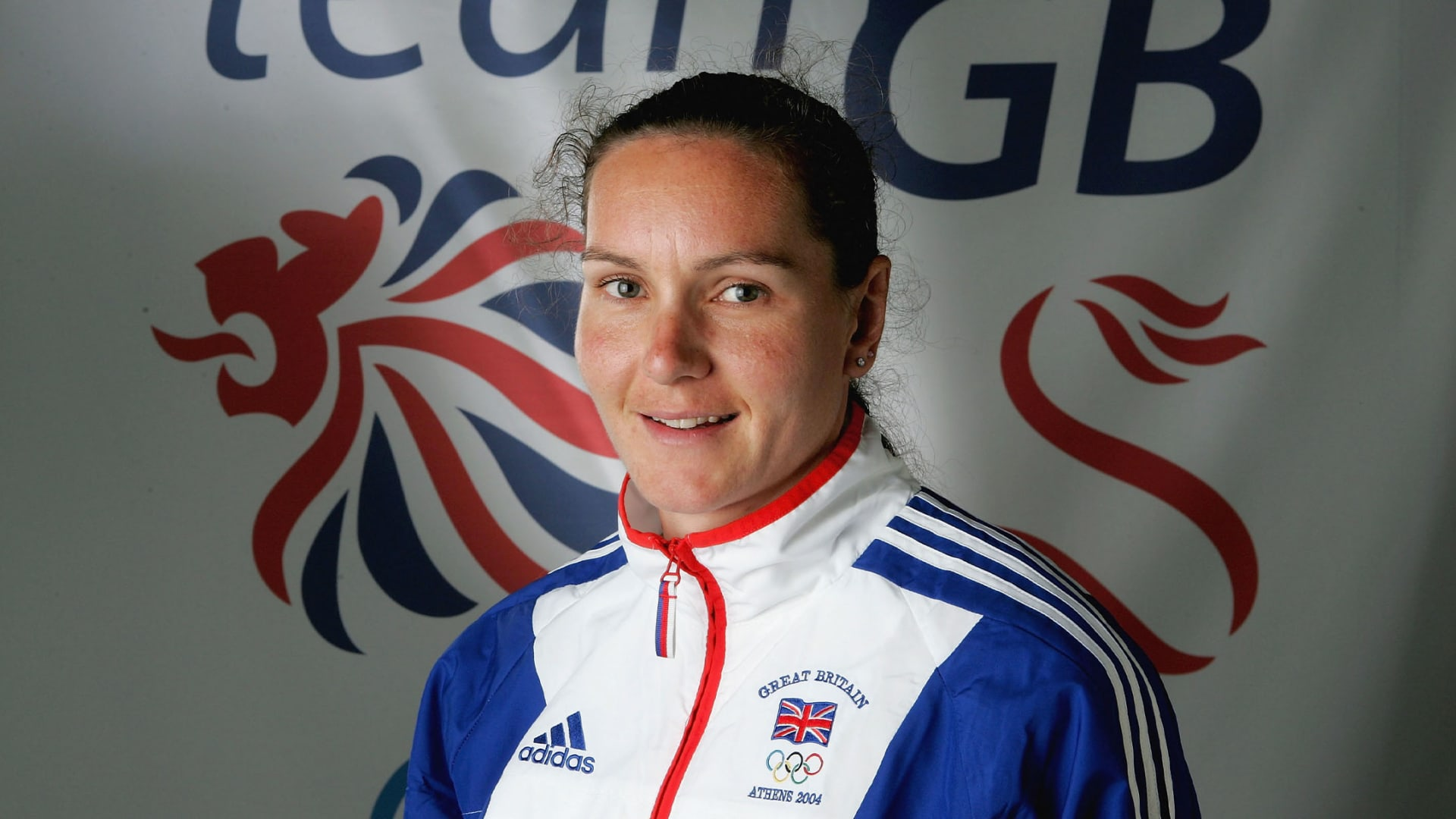 Cath Bishop, a member of the Great Britain Rowing Team, during the kitting out of the British Olympic Team for the 2004 Olympic Games in Athens pictured at Earls Court on July 7, 2004 in London.