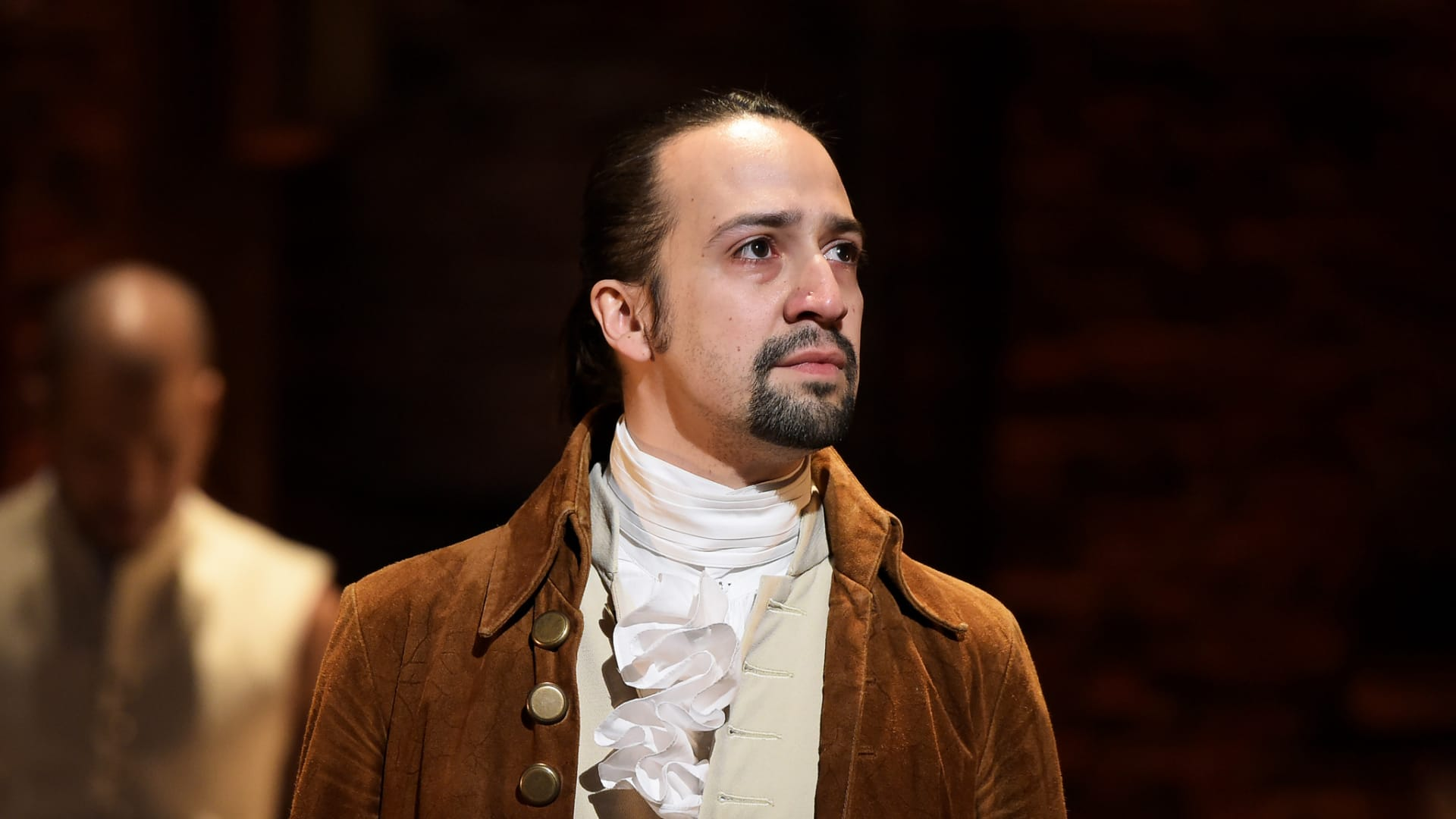 "Lin-Manuel Miranda is seen on stage during ""Hamilton"" in 2016 in New York City."