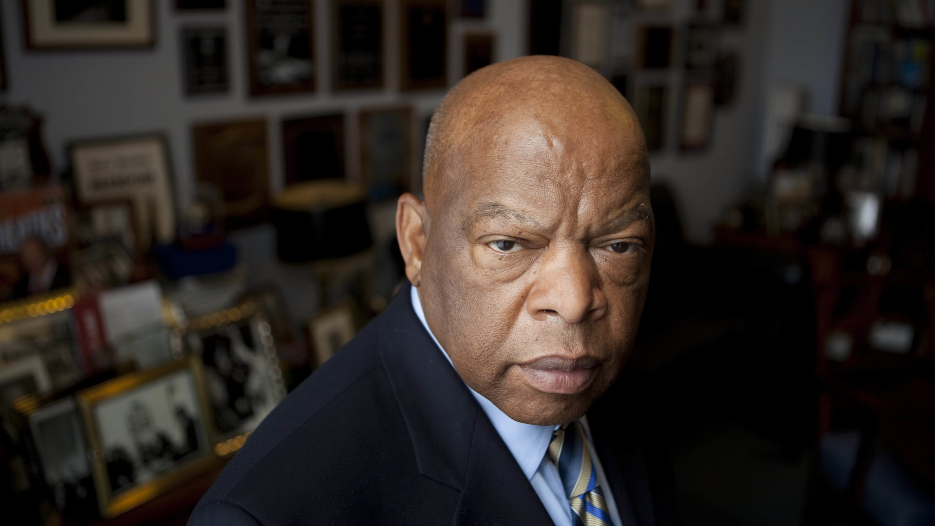 Congressman John Lewis (D-GA) is photographed in his offices in the Canon House office building.