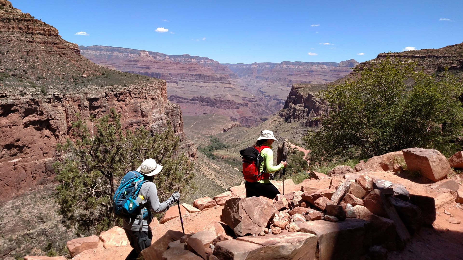 Two Timberline Adventure guides walking on Bright Angel Trail through Grand Canyon National Park.