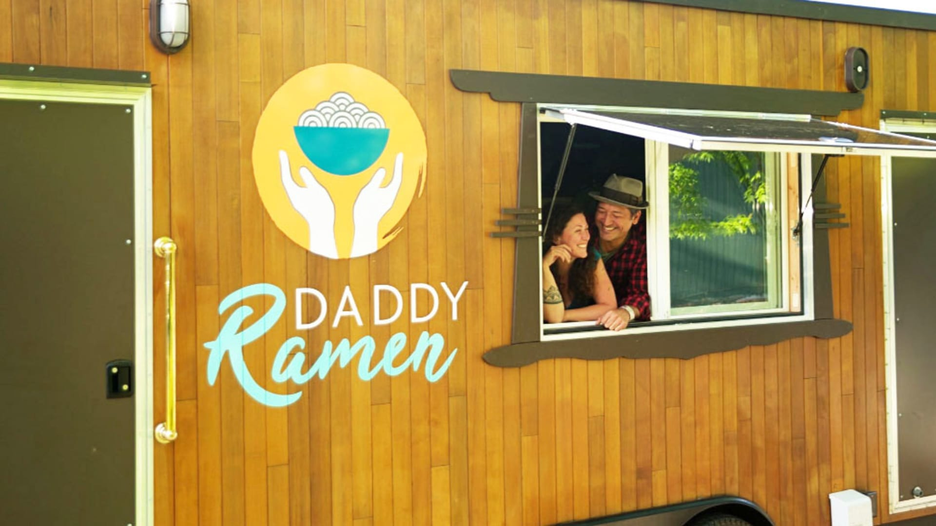 Lichen Richardson and Phoenix Sigalove at their food truck, Daddy Ramen, which was destroyed in the Alameda wildfire in Oregon.