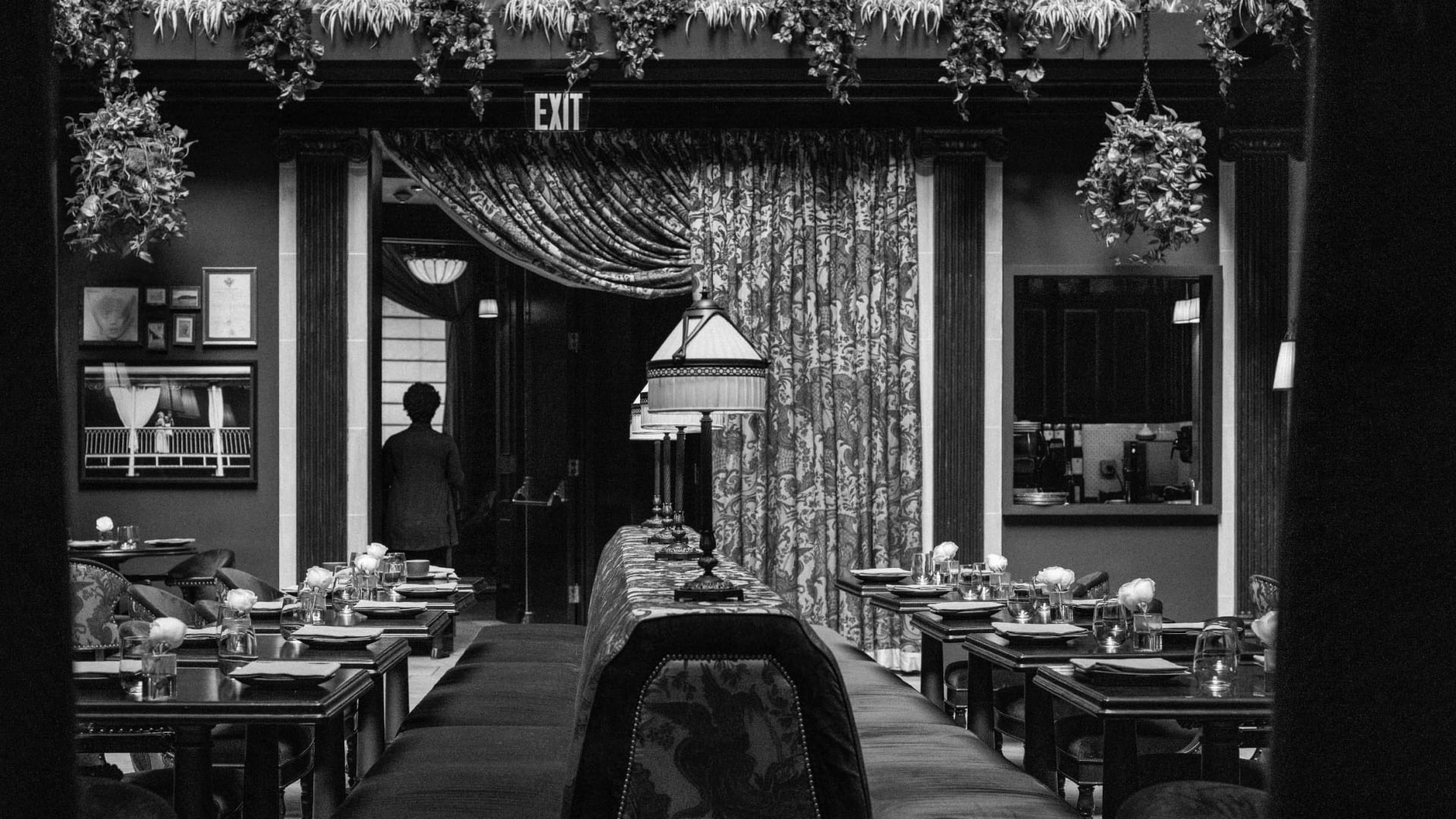 An empty hotel restaurant at the Nomad in New York City.