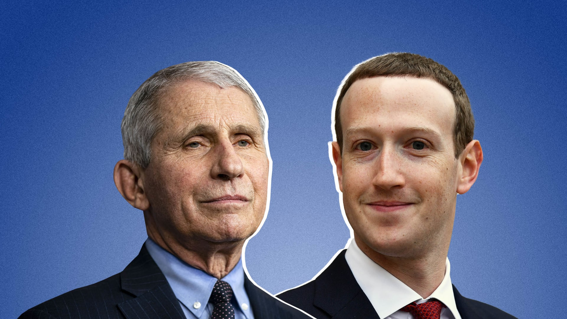 Anthony Fauci and Mark Zuckerberg.
