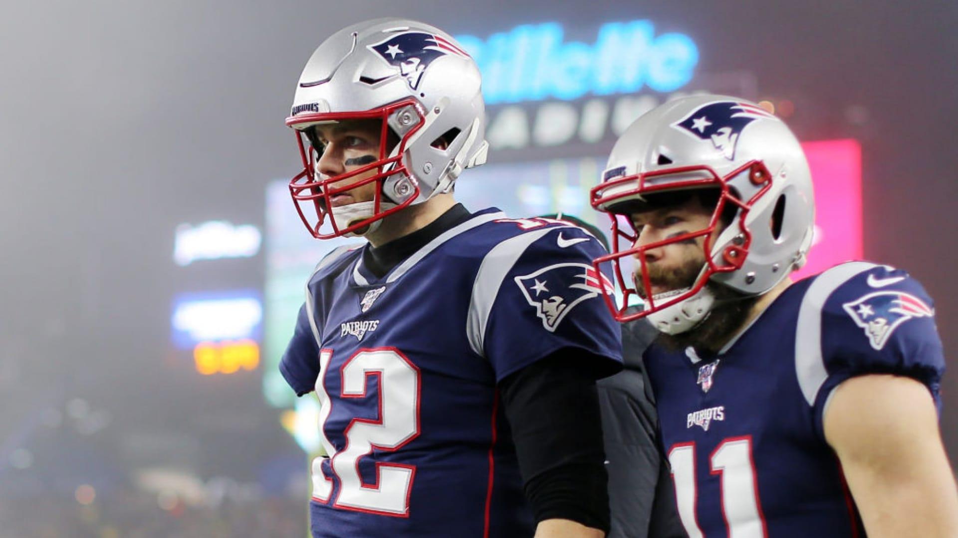 Tom Brady and Julian Edelman of the New England Patriots.