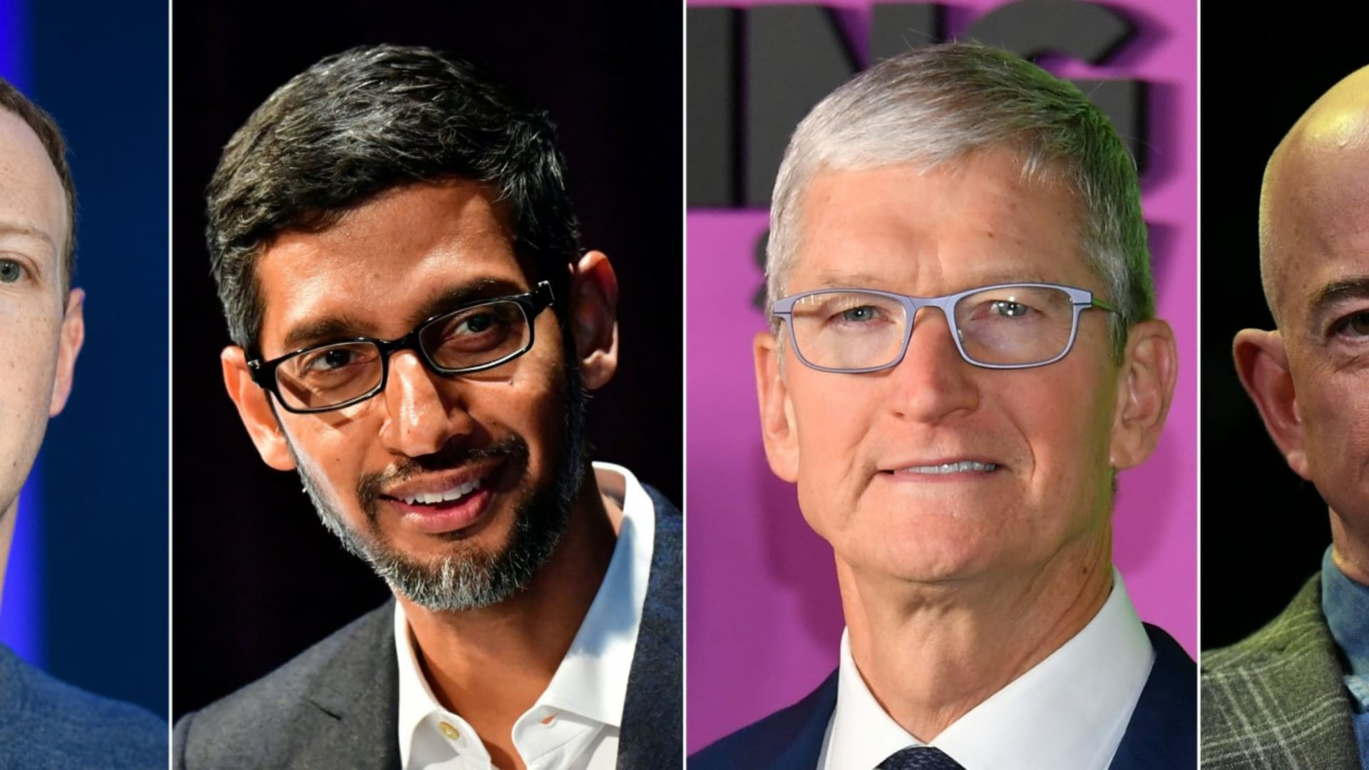 Mark Zuckerberg, CEO of Facebook, Sundar Pichai, CEO of Google, Tim Cook, CEO of Apple, and Jeff Bezos, CEO of Amazon.