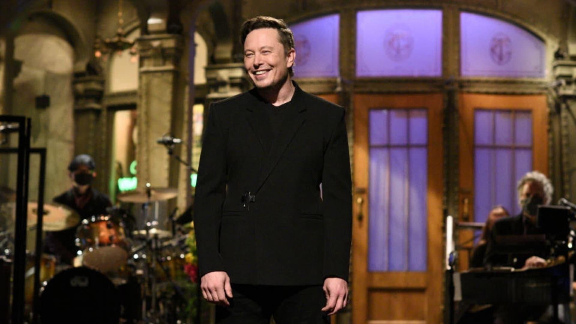 Elon Musk hosting 'Saturday Night Live' on May 8, 2021.