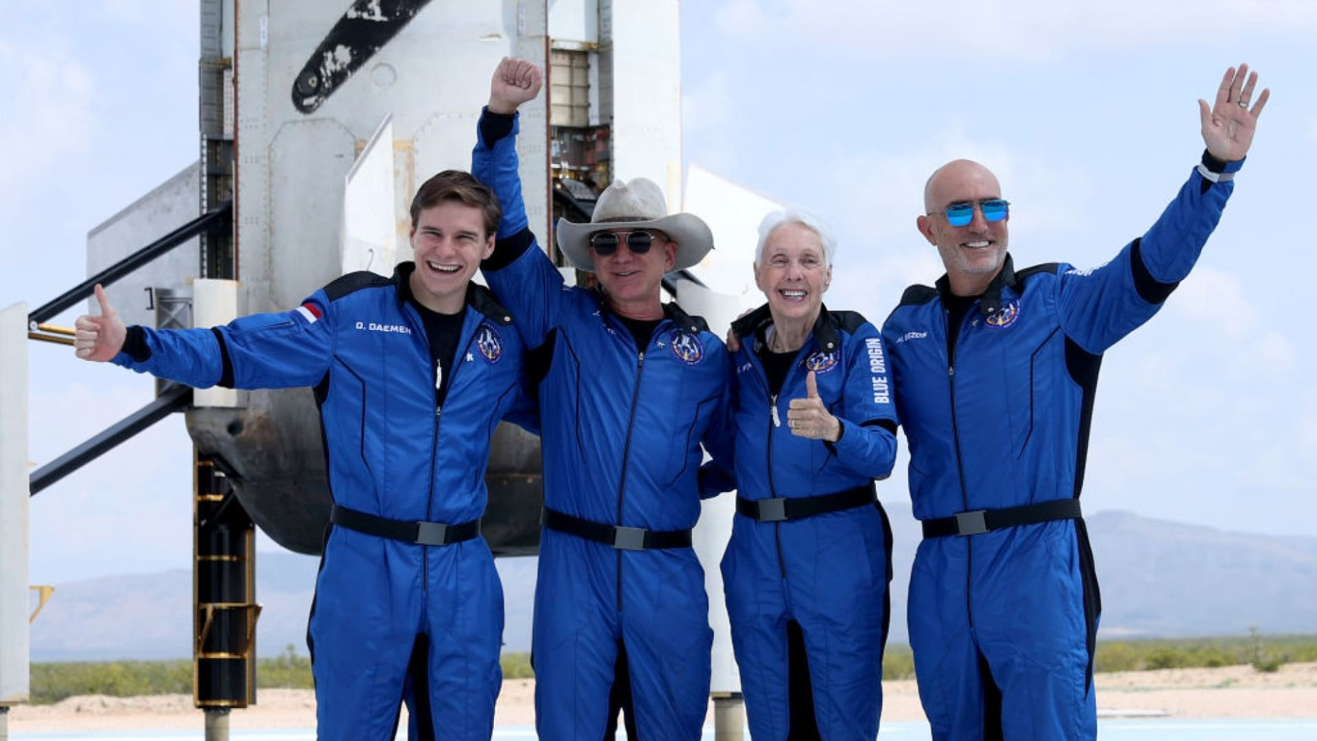 Jeff Bezos, second from left, with crew mates (l to r) Oliver Damen, Wally Funk, and Mark Bezos.