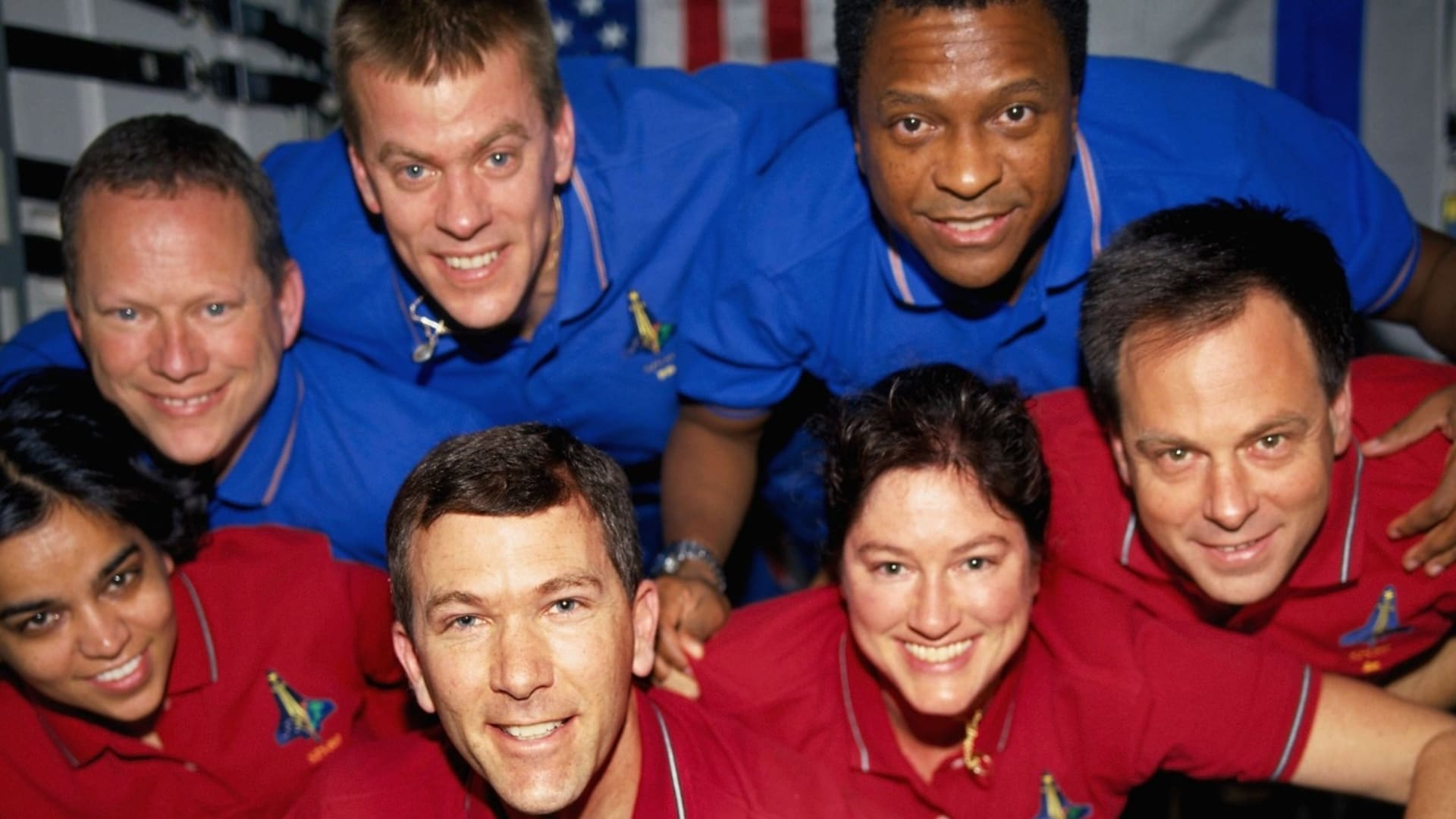 From left, top row: David Brown, mission specialist; William McCool, pilot; and Michael Anderson, payload commander. Bottom row: Kalpana Chawla, mission specialist; Rick Husband, commander; Laurel Clark, mission specialist; and Ilan Ramon, payload specialist.