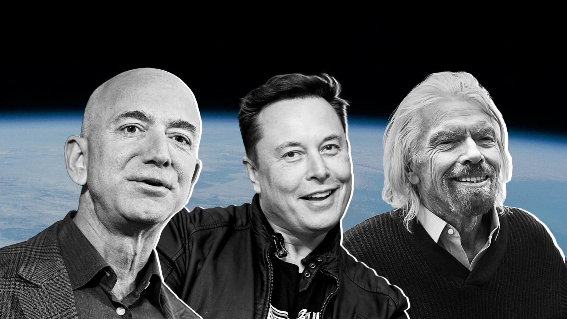 Jeff Bezos, Elon Musk, and Richard Branson.