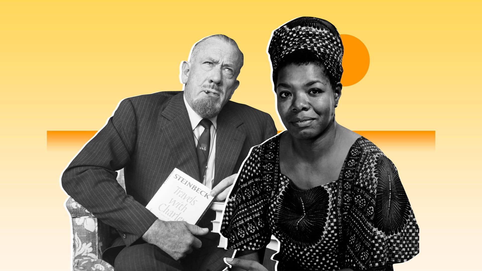 From left: John Steinbeck, Maya Angelou.