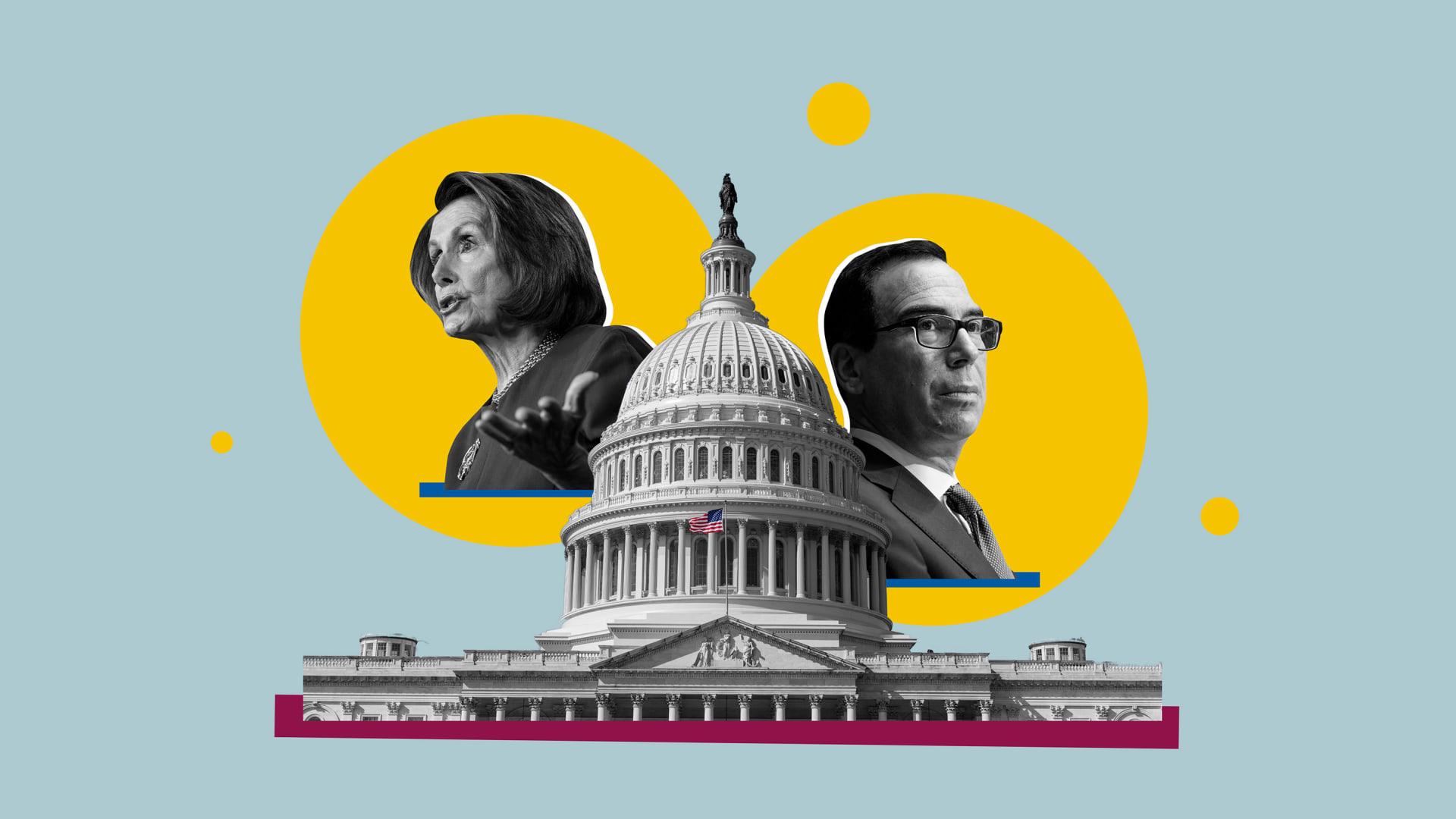 Nancy Pelosi and Steven Mnuchin.