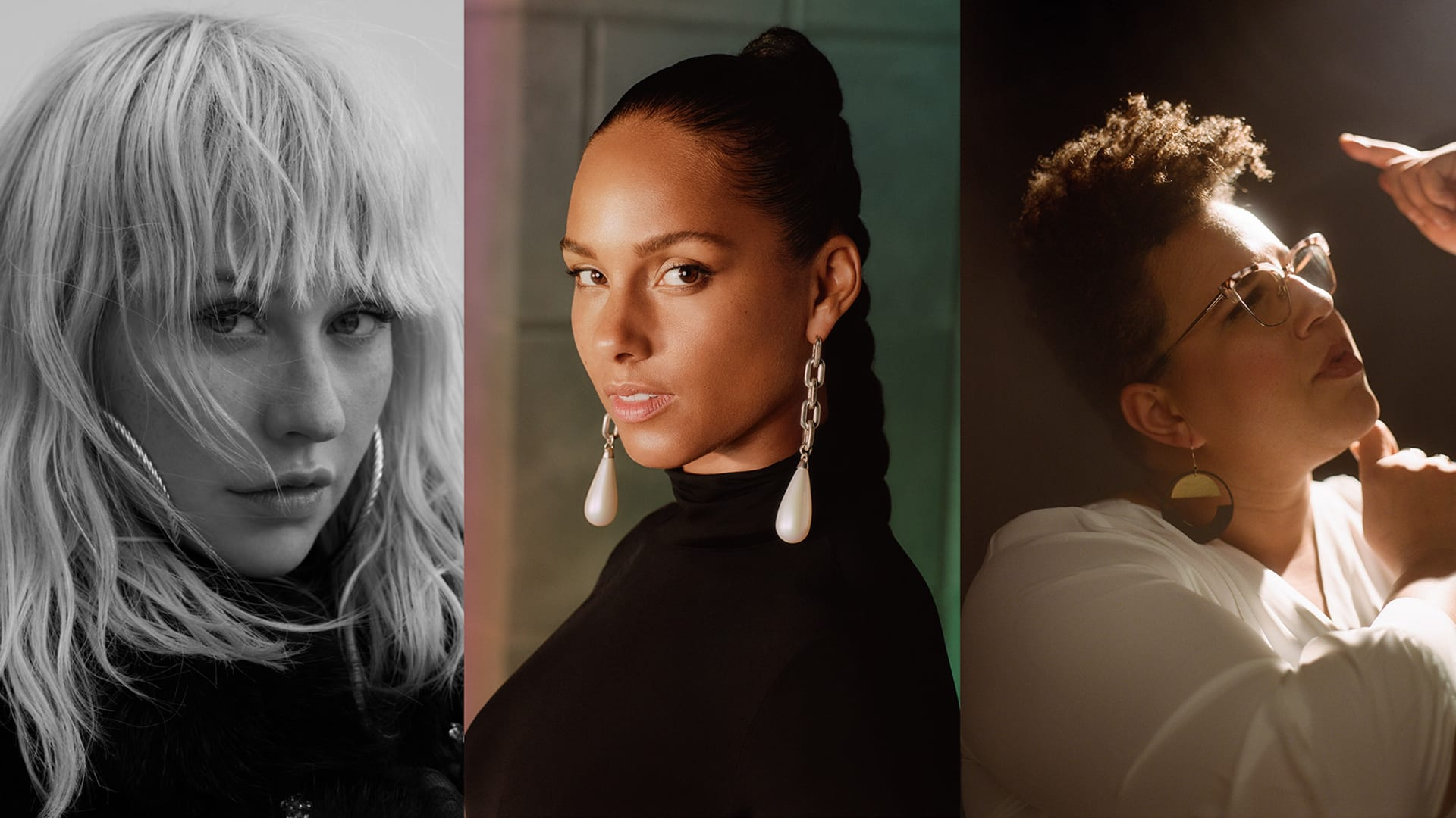 (from L to R) Christina Aguilera, Alicia Keys, and Brittany Howard.