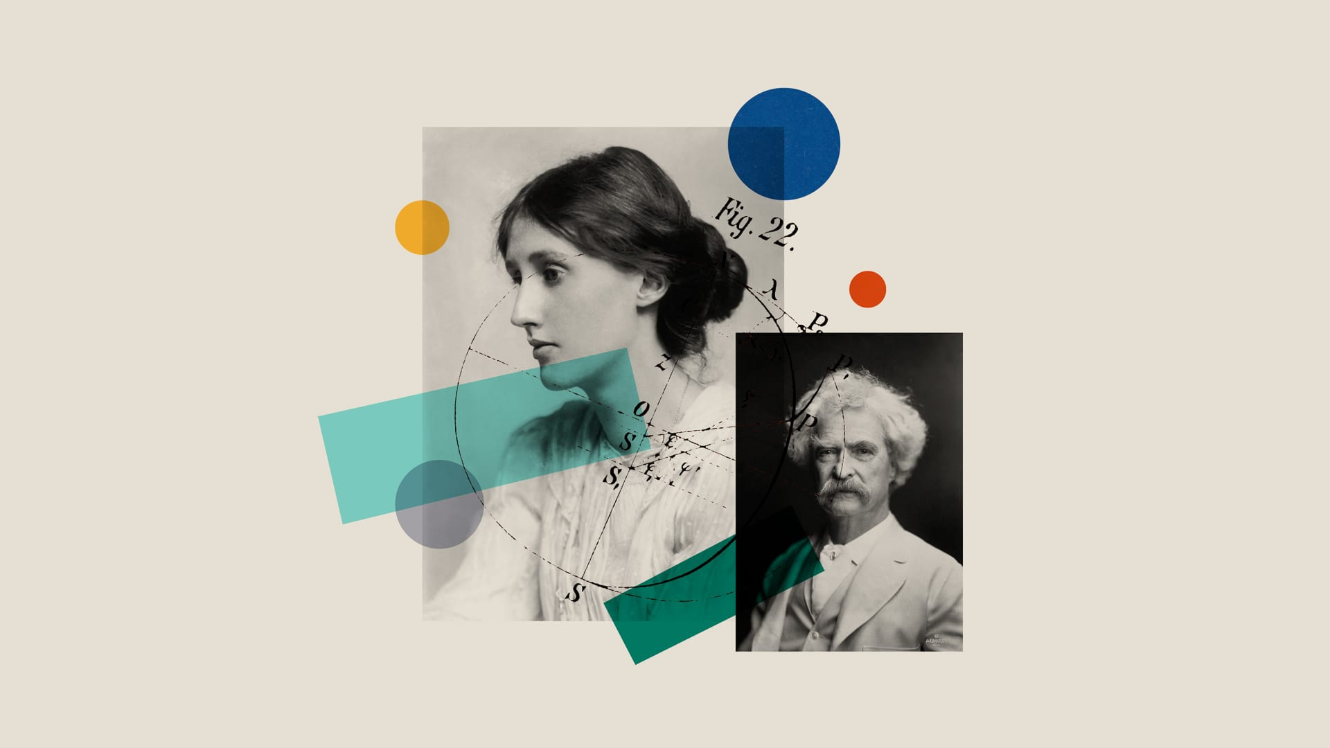 From left: Virginia Woolf and Mark Twain.