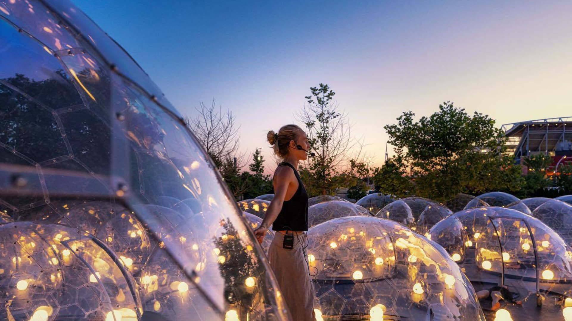 A weeks-long pop-up event in Toronto made group yoga and fitness classes possible. Set in an urban park, 50 clear, geodesic domes enabled social distancing while clients worked out in the safety of their individual chambers, with instruction piped in via wireless speakers.